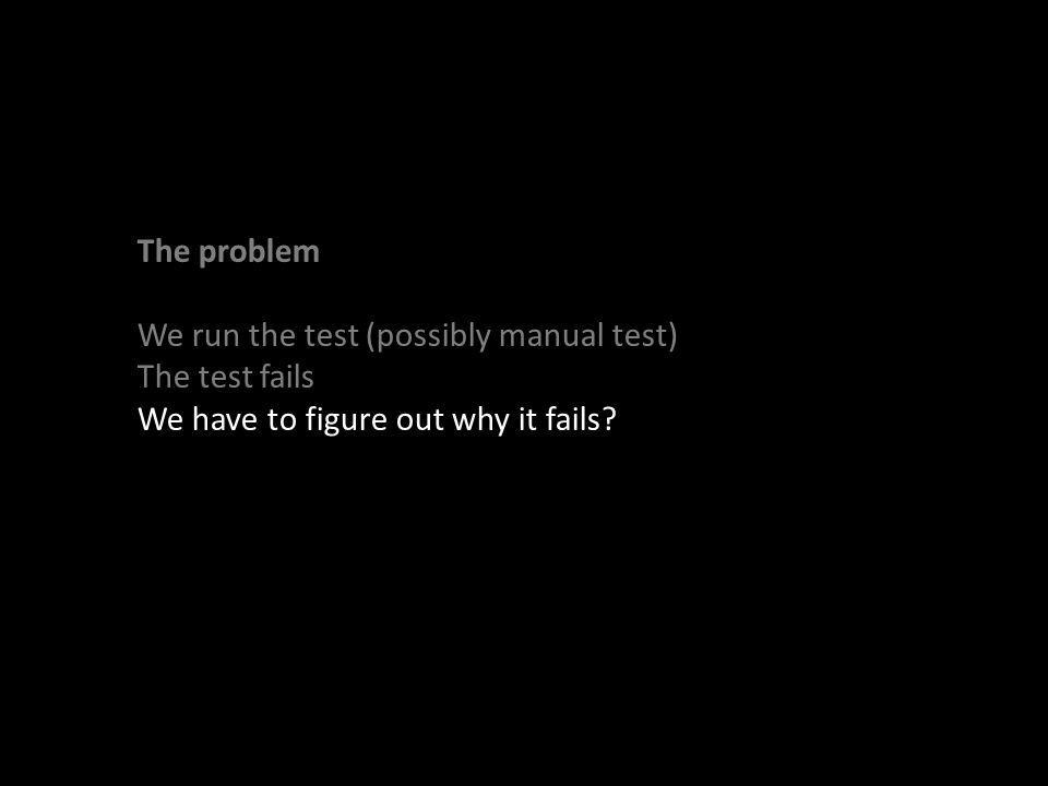 The problem We run the test (possibly manual test) The test fails We have to figure out why it fails?