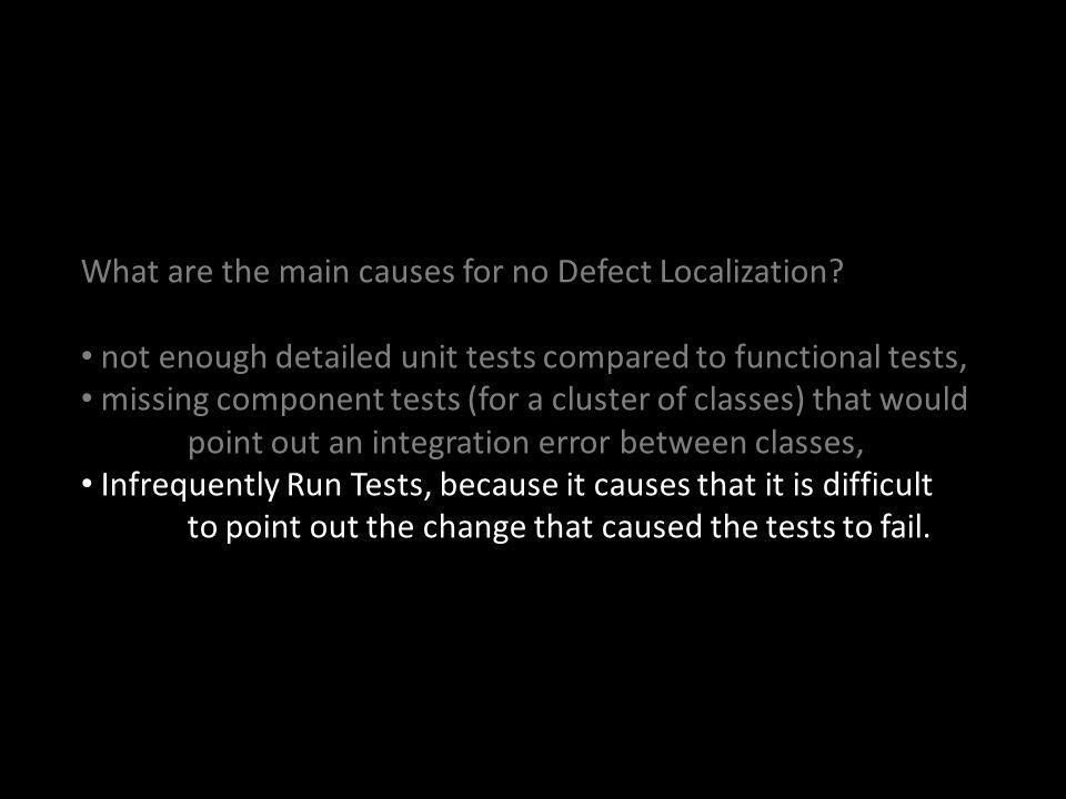 What are the main causes for no Defect Localization.