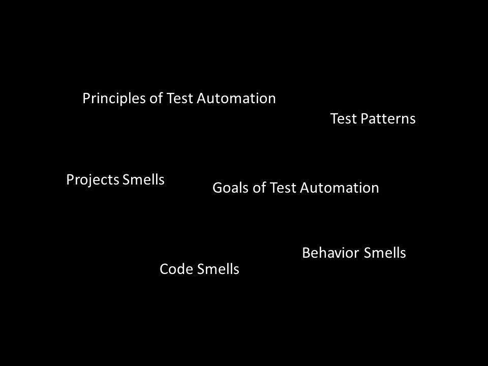 Goals of Test Automation Code Smells Principles of Test Automation Behavior Smells Projects Smells Test Patterns