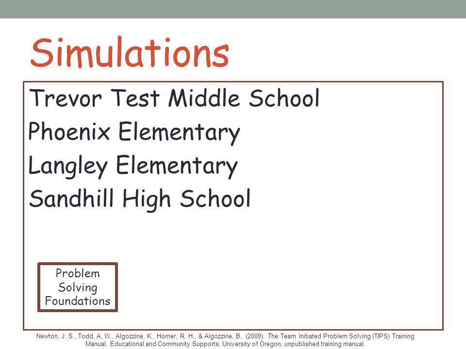 Simulations Trevor Test Middle School Phoenix Elementary Langley Elementary Sandhill High School Newton, J. S., Todd, A. W., Algozzine, K., Horner, R.
