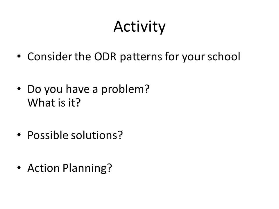 Activity Consider the ODR patterns for your school Do you have a problem.