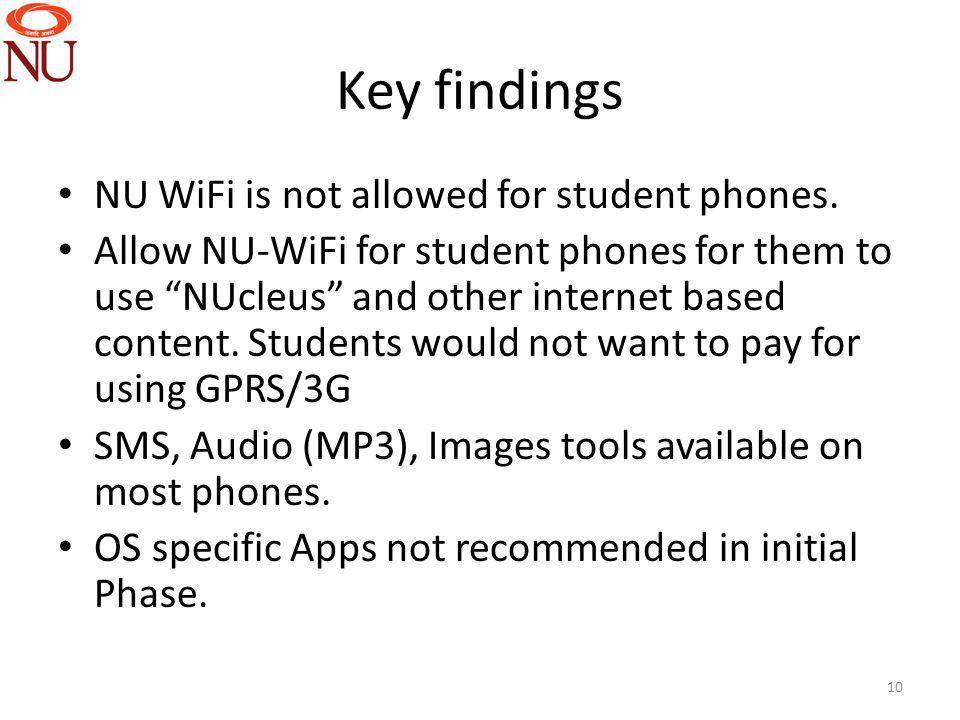 Key findings NU WiFi is not allowed for student phones.