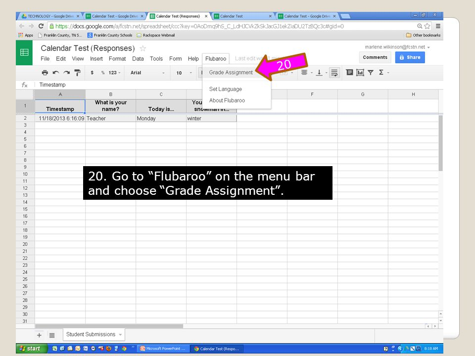 20. Go to Flubaroo on the menu bar and choose Grade Assignment. 20