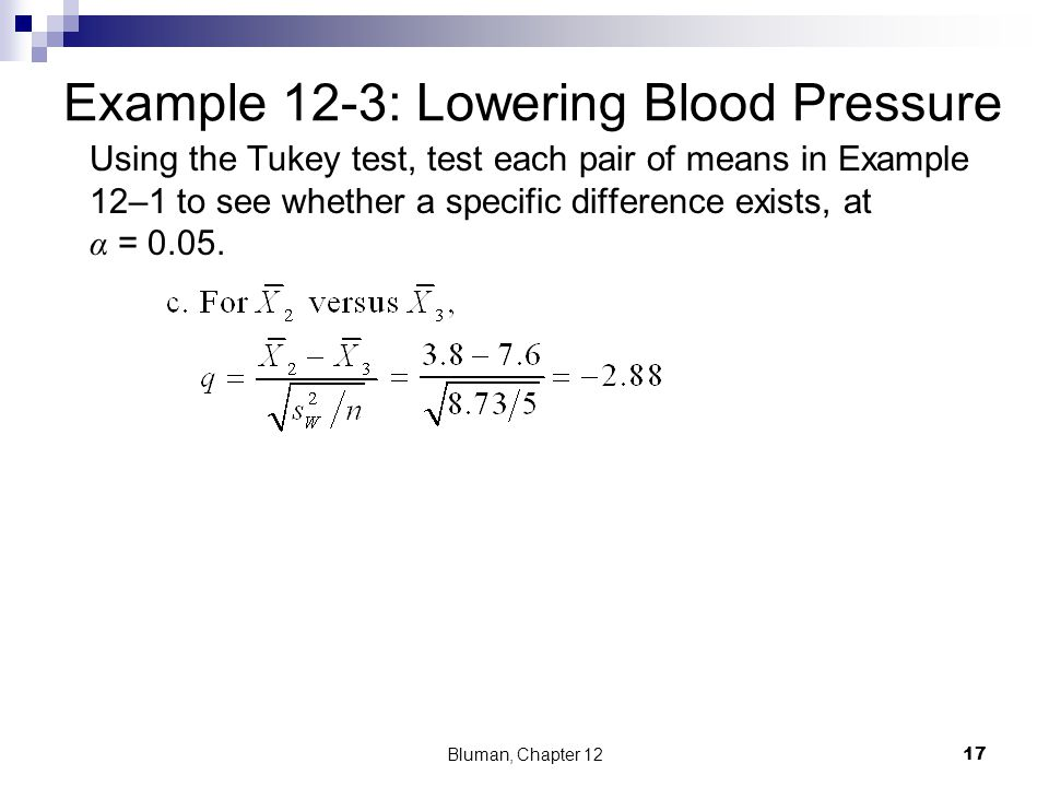 Example 12-3: Lowering Blood Pressure Using the Tukey test, test each pair of means in Example 12–1 to see whether a specific difference exists, at α