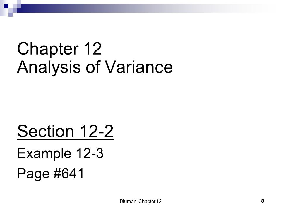 Example 12-3: Lowering Blood Pressure Bluman, Chapter 12 19 Hence, the only q value that is greater in absolute value than the critical value is the one for the difference between and.