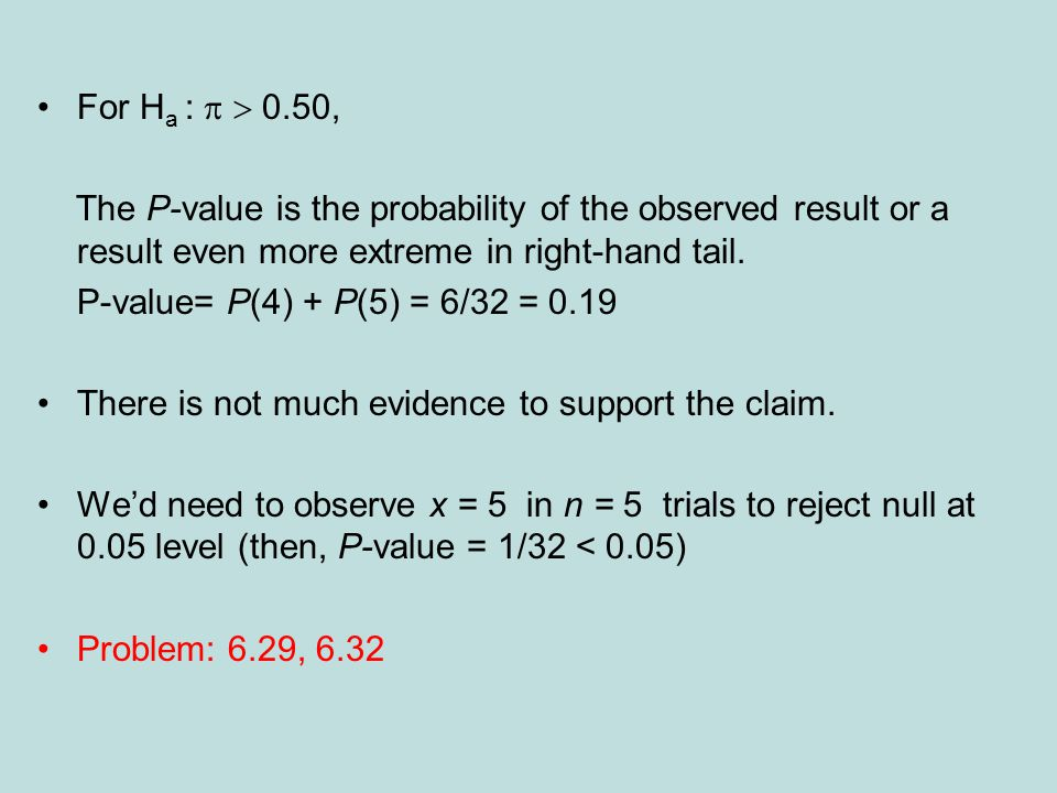 For H a : 0.50, The P-value is the probability of the observed result or a result even more extreme in right-hand tail.