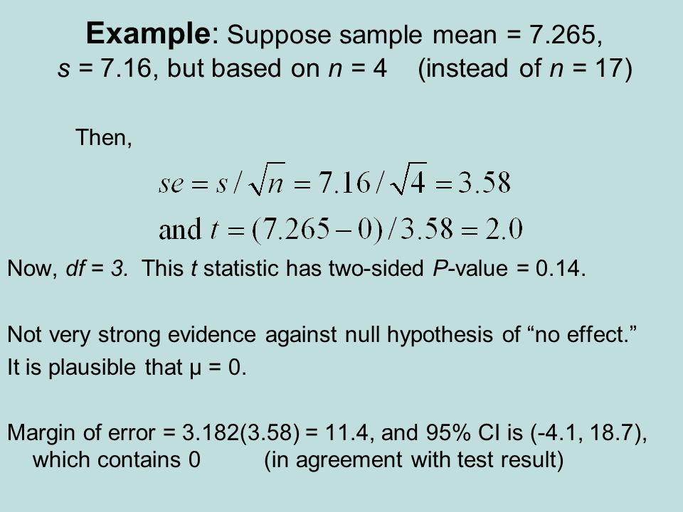 Example: Suppose sample mean = 7.265, s = 7.16, but based on n = 4 (instead of n = 17) Then, Now, df = 3.