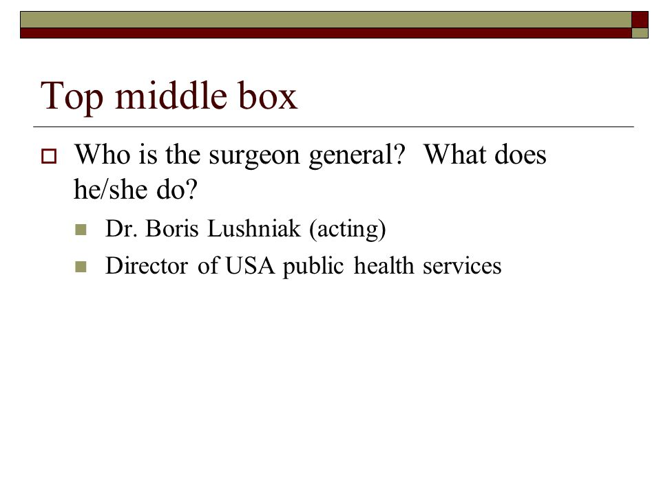 Top middle box Who is the surgeon general. What does he/she do.