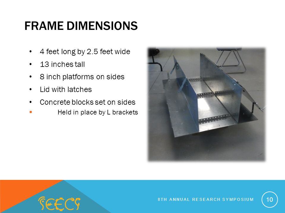 FRAME DIMENSIONS 4 feet long by 2.5 feet wide 13 inches tall 8 inch platforms on sides Lid with latches Concrete blocks set on sides Held in place by L brackets 10 8TH ANNUAL RESEARCH SYMPOSIUM