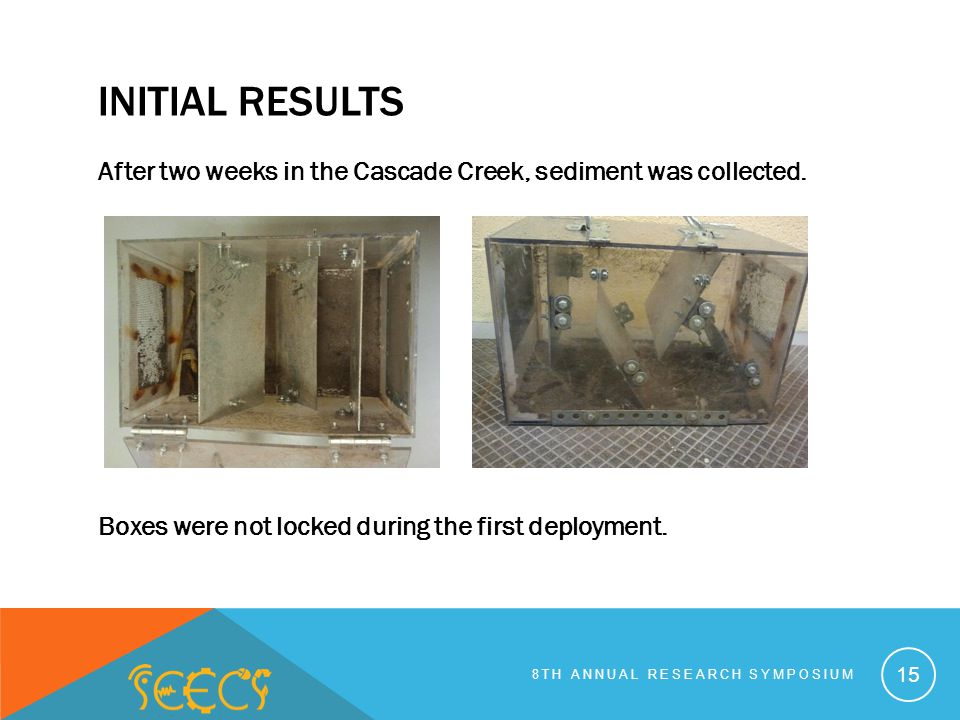 INITIAL RESULTS After two weeks in the Cascade Creek, sediment was collected.