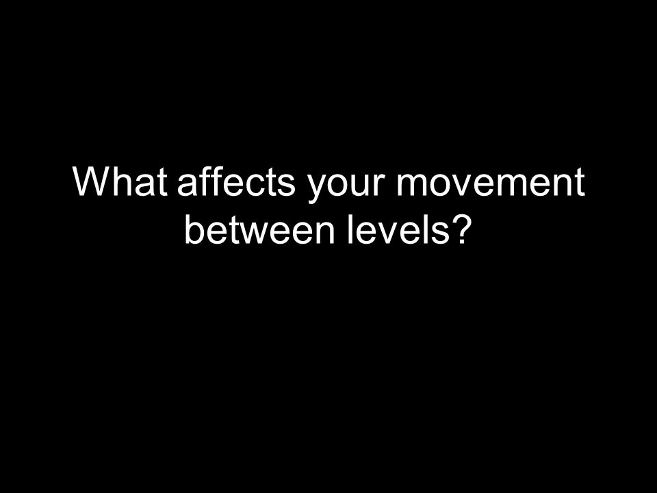 What affects your movement between levels