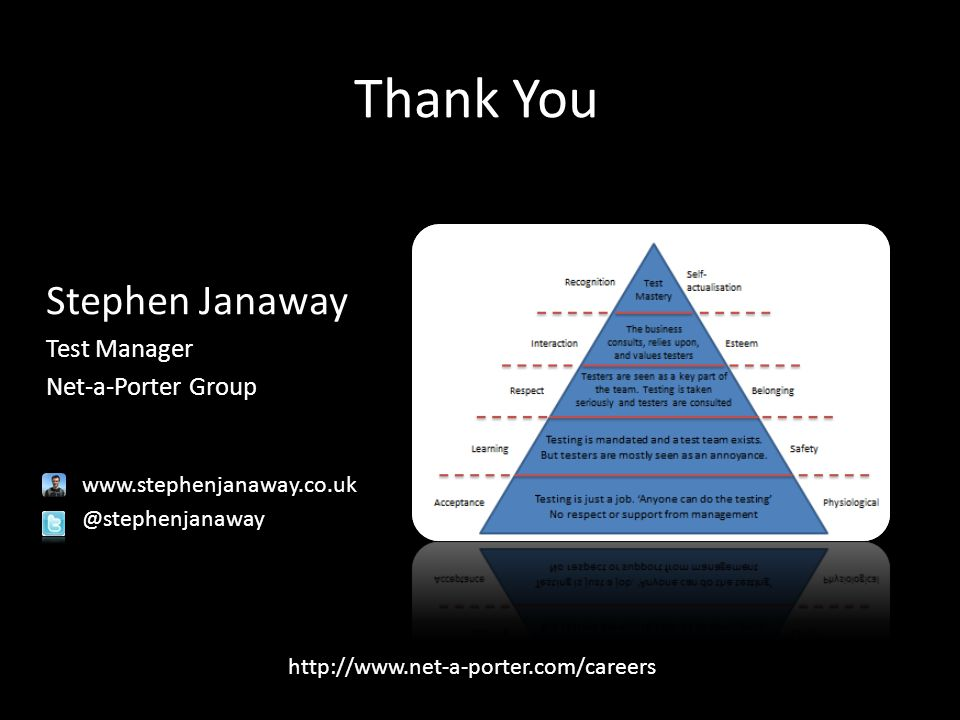Stephen Janaway Test Manager Net-a-Porter Group www.stephenjanaway.co.uk @stephenjanaway Thank You http://www.net-a-porter.com/careers