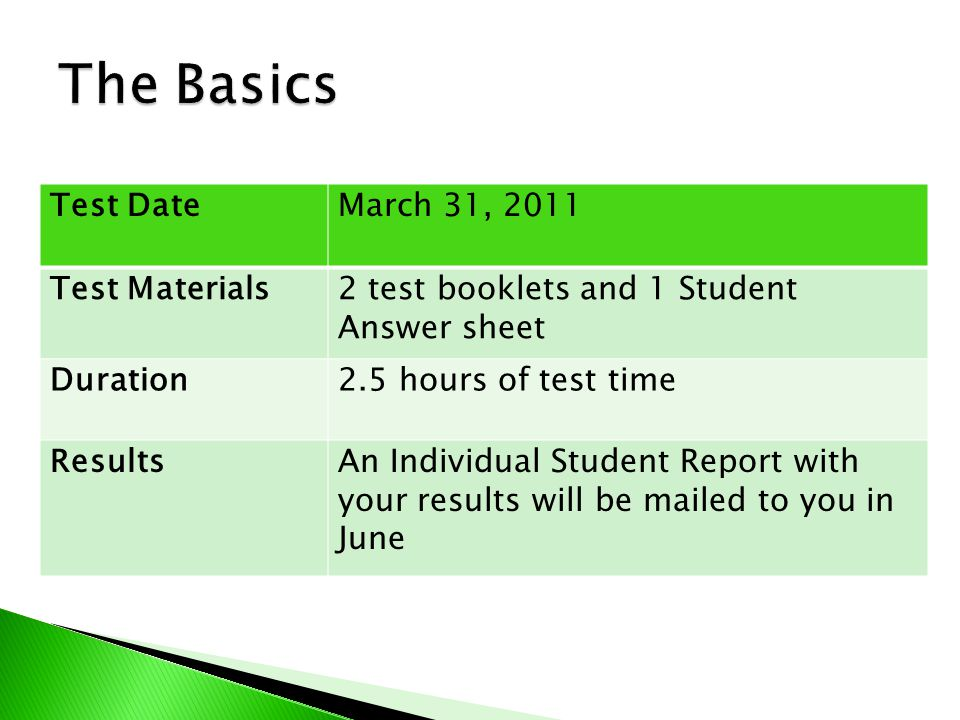Test DateMarch 31, 2011 Test Materials2 test booklets and 1 Student Answer sheet Duration2.5 hours of test time ResultsAn Individual Student Report with your results will be mailed to you in June