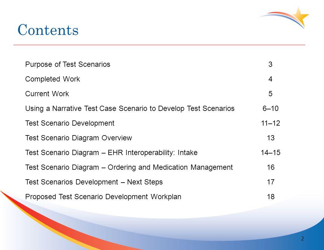 Purpose of Test Scenarios Make clinically relevant (i.e.