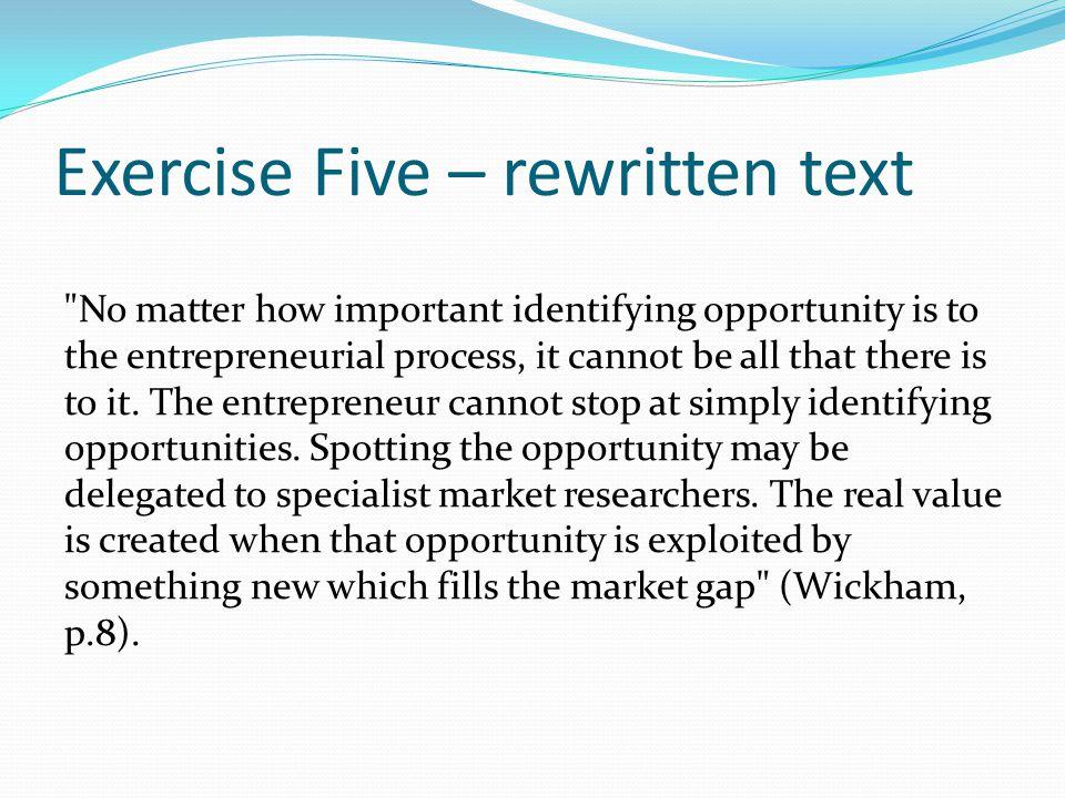 Exercise Five – rewritten text