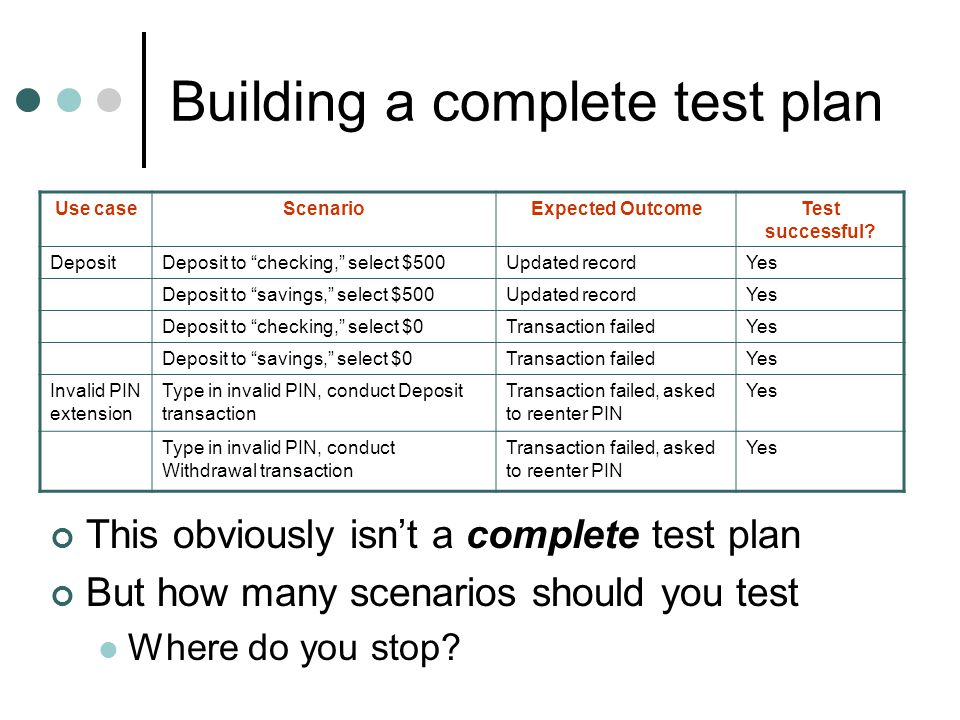Building a complete test plan This obviously isnt a complete test plan But how many scenarios should you test Where do you stop.