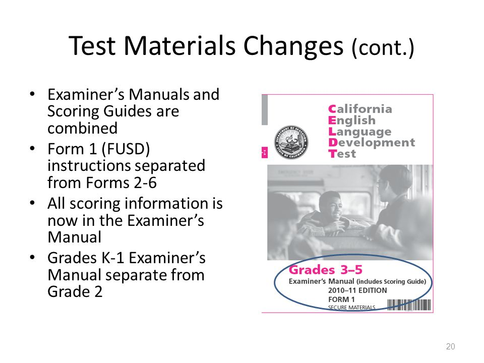 Test Materials Changes (cont.) Examiners Manuals and Scoring Guides are combined Form 1 (FUSD) instructions separated from Forms 2-6 All scoring information is now in the Examiners Manual Grades K-1 Examiners Manual separate from Grade 2 20