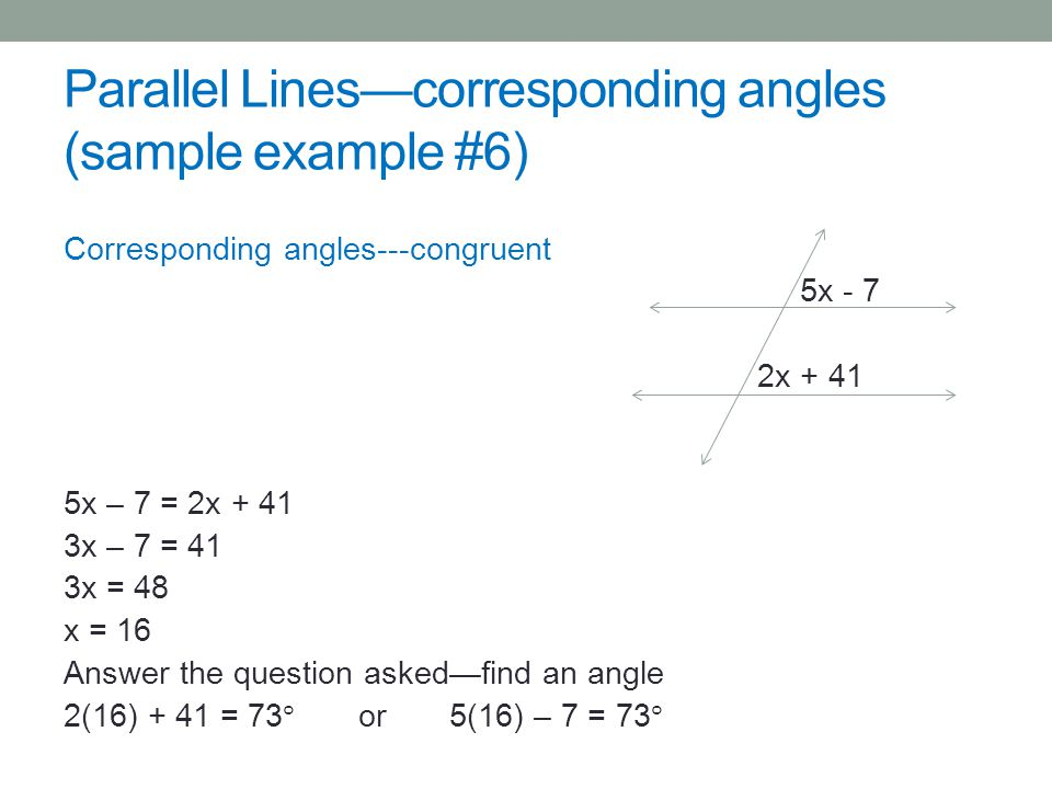 Parallel Linescorresponding angles (sample example #6)