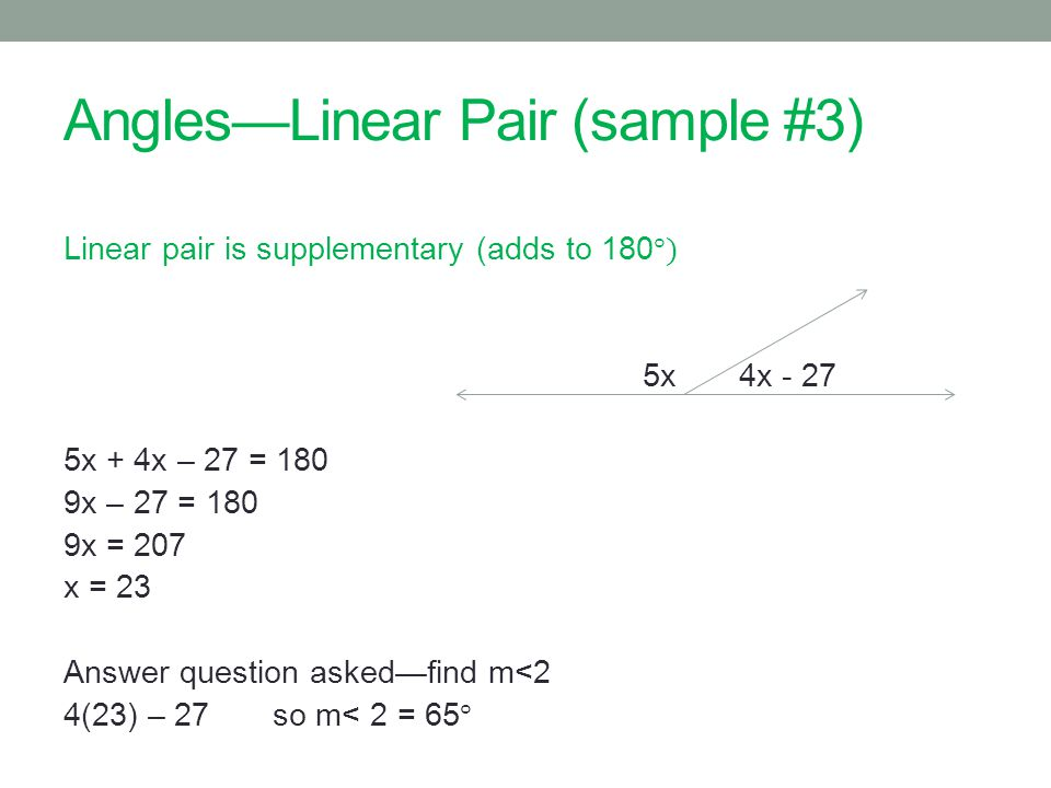 AnglesLinear Pair (sample #3)