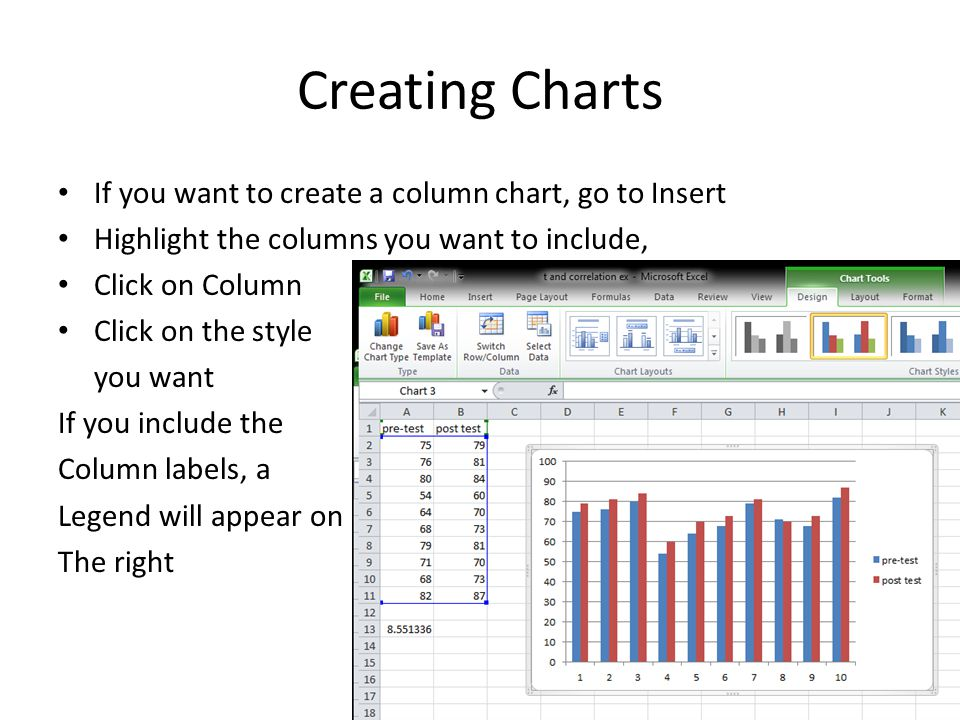 Creating Charts If you want to create a column chart, go to Insert Highlight the columns you want to include, Click on Column Click on the style you want If you include the Column labels, a Legend will appear on The right