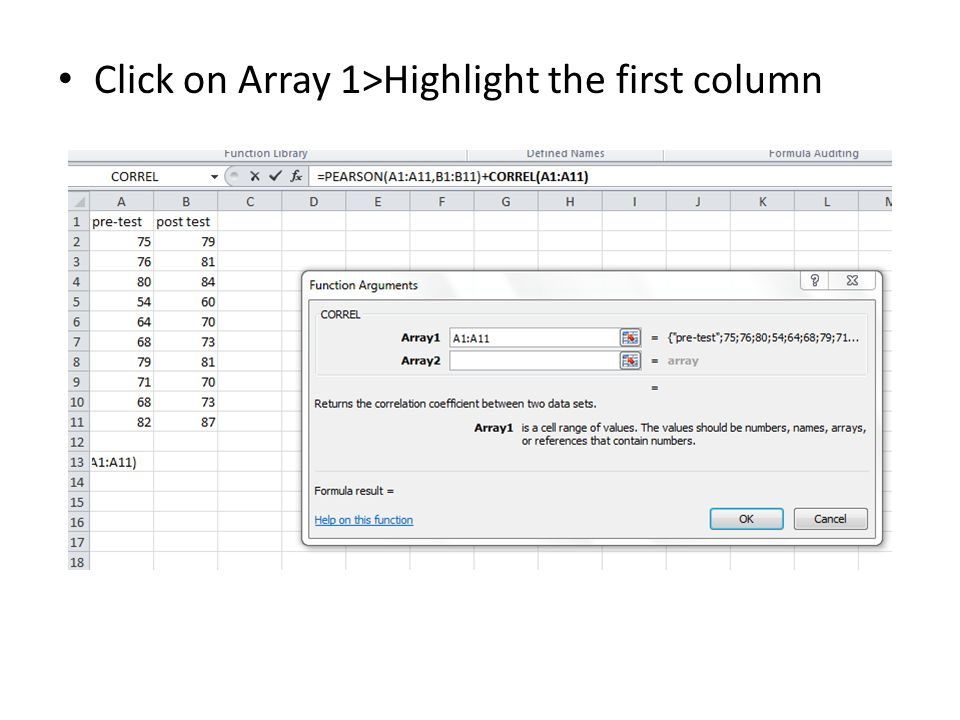 Click on Array 1>Highlight the first column