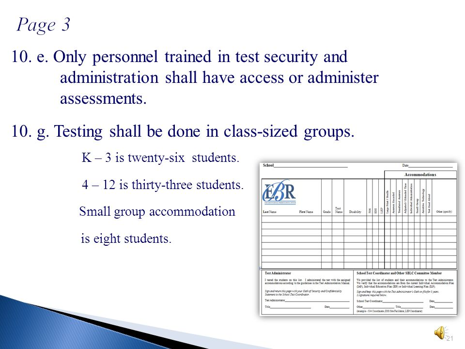 Pages 2 – 3 outline investigation and testing procedures. 9. *NEW* Seating Charts are required. 20 Pages 2 – 3