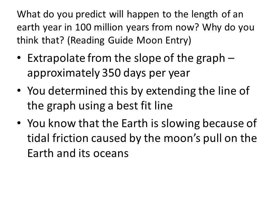 What do you predict will happen to the length of an earth year in 100 million years from now? Why do you think that? (Reading Guide Moon Entry) Extrap
