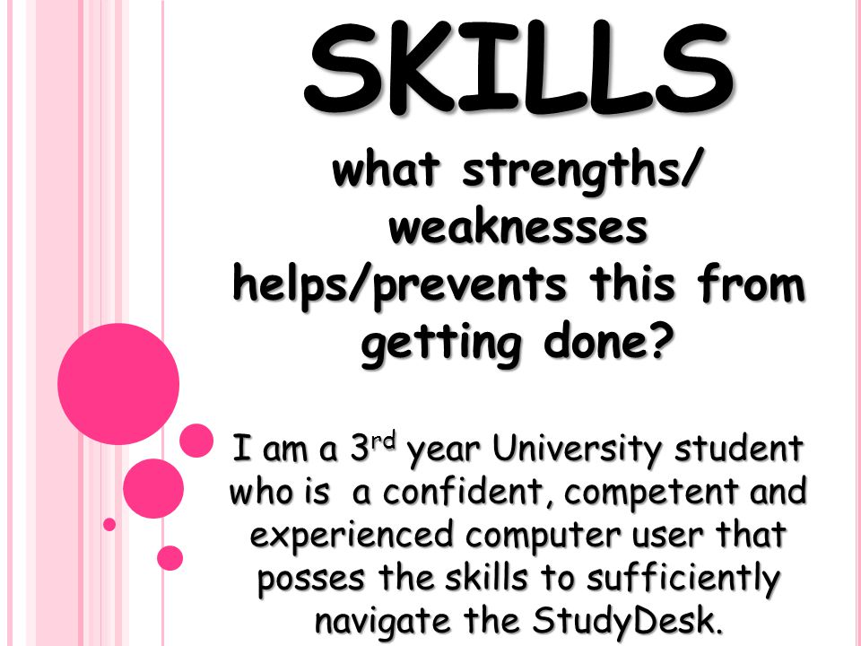 SKILLS what strengths/ weaknesses helps/prevents this from getting done.