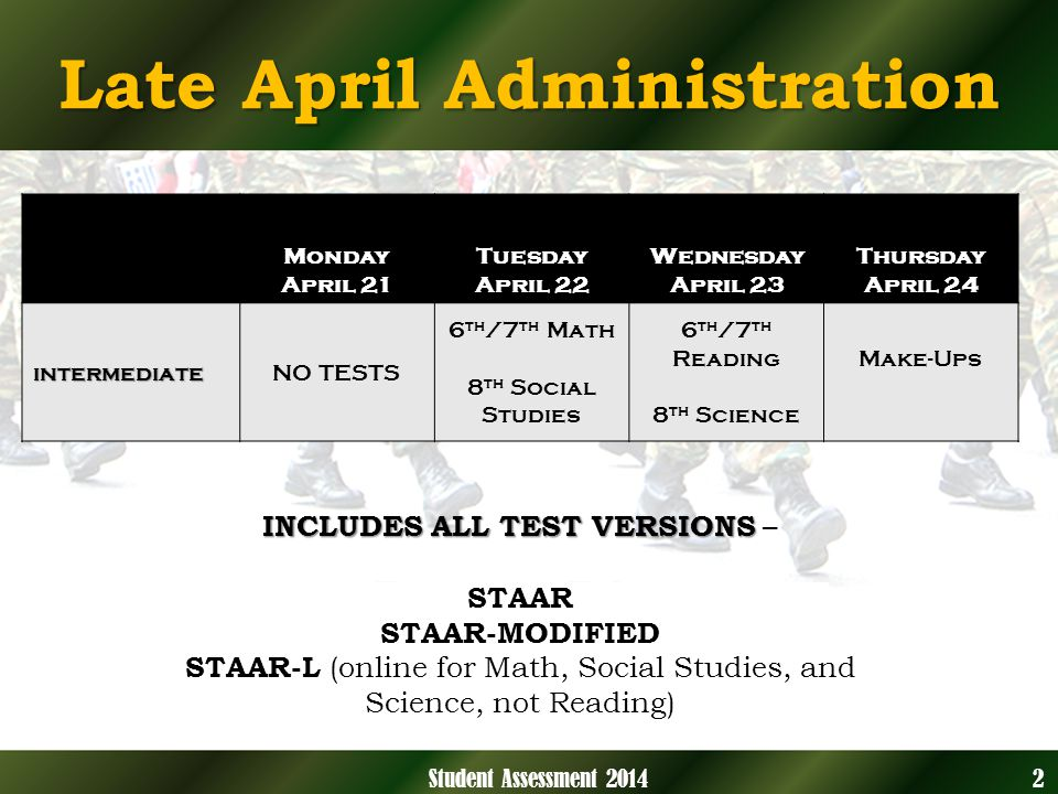 Late April Administration INCLUDES ALL TEST VERSIONS INCLUDES ALL TEST VERSIONS – STAAR STAAR-MODIFIED STAAR-L (online for Math, Social Studies, and Science, not Reading) 2Student Assessment 2014 Monday April 21 Tuesday April 22 Wednesday April 23 Thursday April 24 intermediateNO TESTS 6 th /7 th Math 8 th Social Studies 6 th /7 th Reading 8 th Science Make-Ups