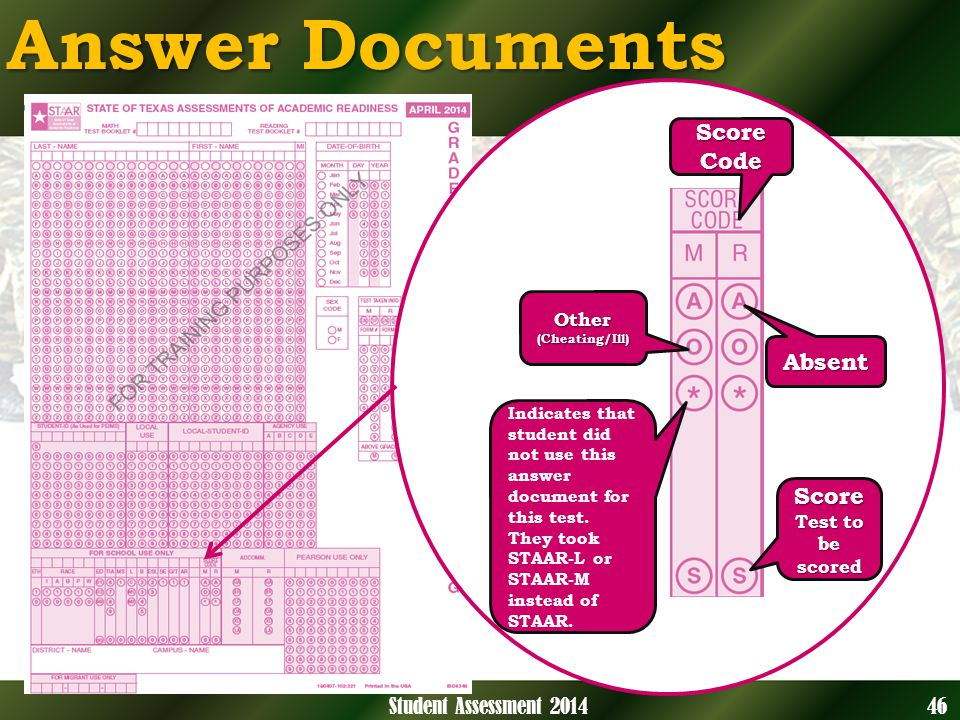 Answer Documents Score Code Absent Other(Cheating/Ill) Score Test to be scored 46Student Assessment 2014 Indicates that student did not use this answer document for this test.