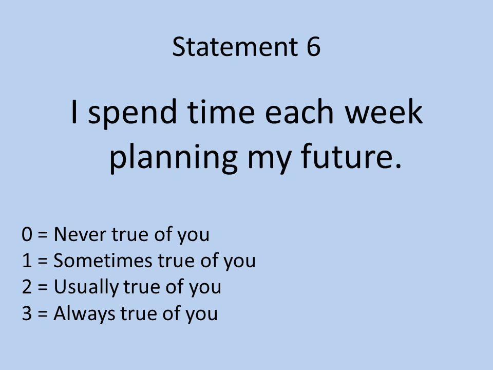 Statement 6 I spend time each week planning my future.