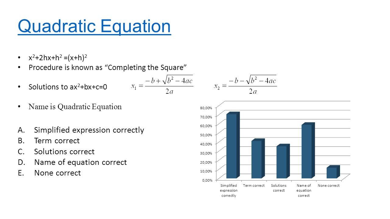 Quadratic Equation A.Simplified expression correctly B.Term correct C.Solutions correct D.Name of equation correct E.None correct x 2 +2hx+h 2 =(x+h) 2 Procedure is known as Completing the Square Solutions to ax 2 +bx+c=0 Name is Quadratic Equation