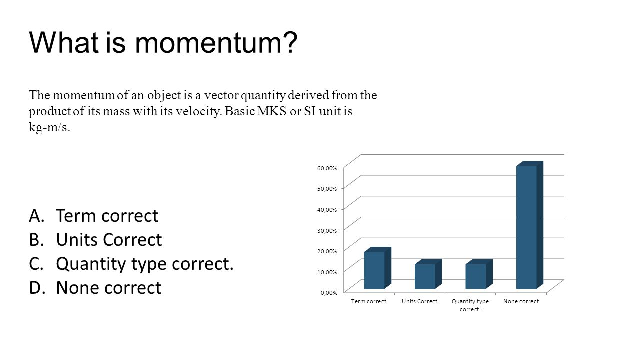 What is momentum. A.Term correct B.Units Correct C.Quantity type correct.
