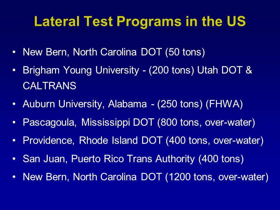 Lateral Test Programs in the US New Bern, North Carolina DOT (50 tons) Brigham Young University - (200 tons) Utah DOT & CALTRANS Auburn University, Al