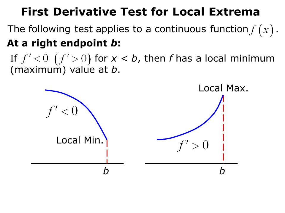 First Derivative Test for Local Extrema The following test applies to a continuous function.