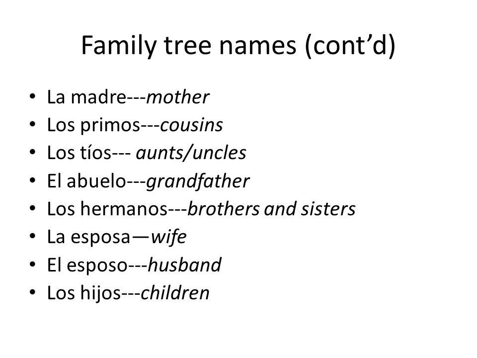 Family tree names (contd) La madre---mother Los primos---cousins Los tíos--- aunts/uncles El abuelo---grandfather Los hermanos---brothers and sisters La esposawife El esposo---husband Los hijos---children