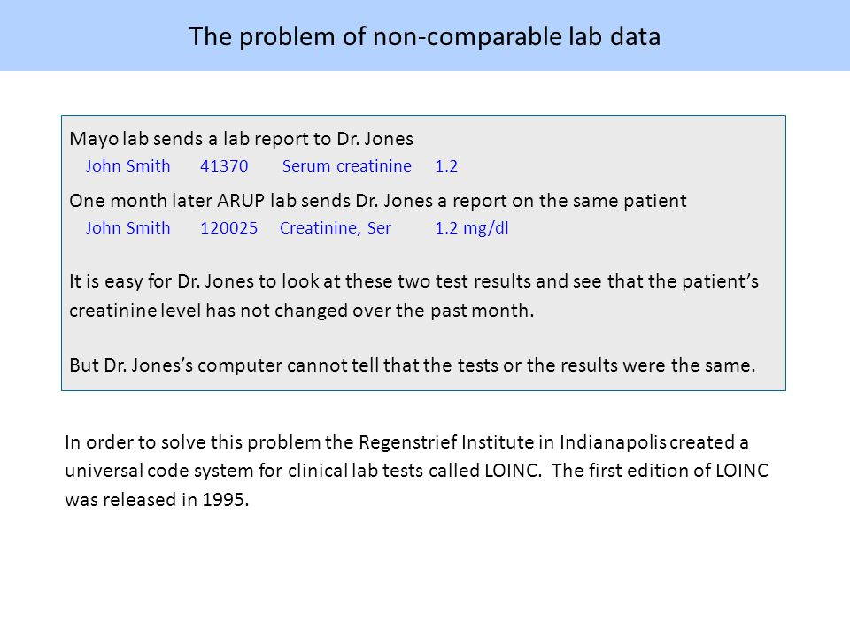 LOINC Clinical labs do not replace their own test names and codes with LOINC.