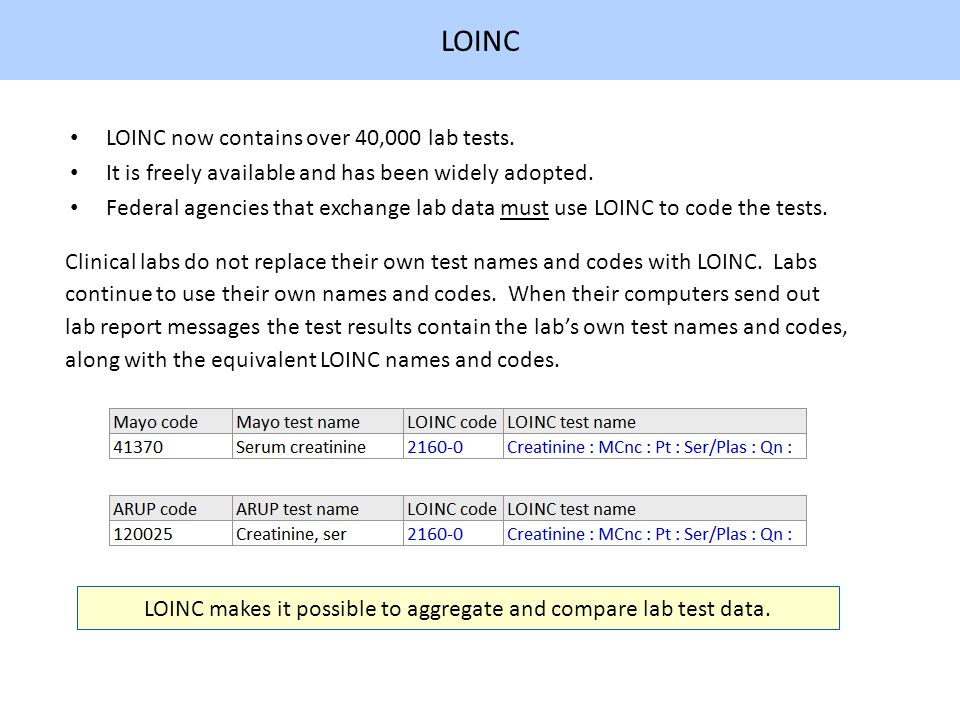 LOINC LOINC now contains over 40,000 lab tests. It is freely available and has been widely adopted.