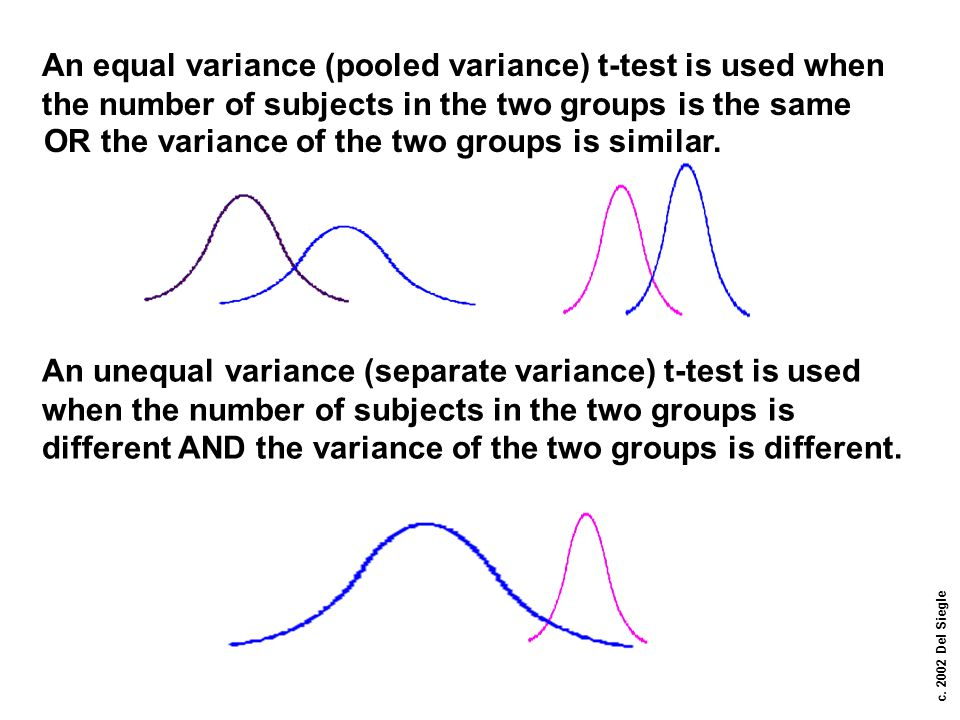c. 2002 Del Siegle An equal variance (pooled variance) t-test is used when the number of subjects in the two groups is the same OR the variance of the