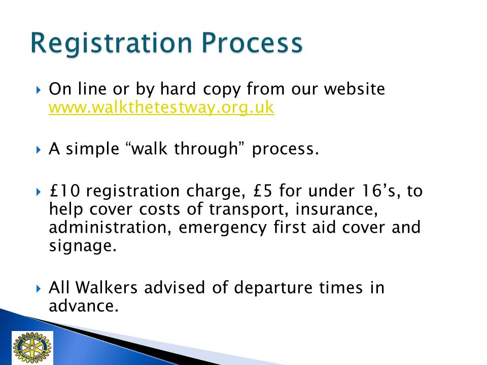 On line or by hard copy from our website www.walkthetestway.org.uk www.walkthetestway.org.uk A simple walk through process.