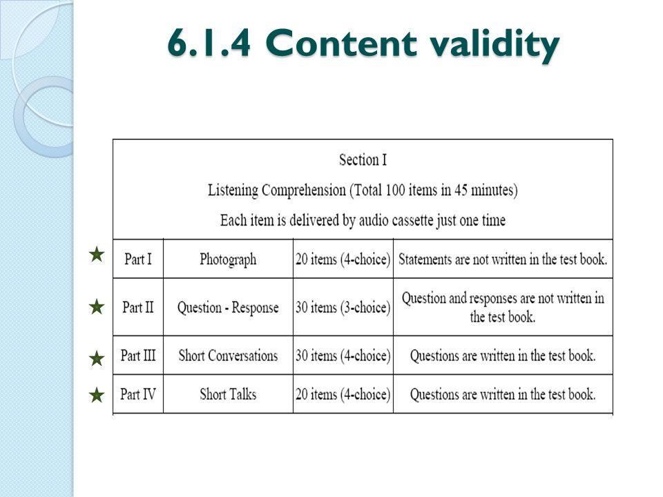 6.1.4 Content validity