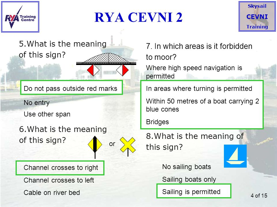 Skysail CEVNI Training 5 of 15 RYA CEVNI 3 9.What is the meaning of this sign.