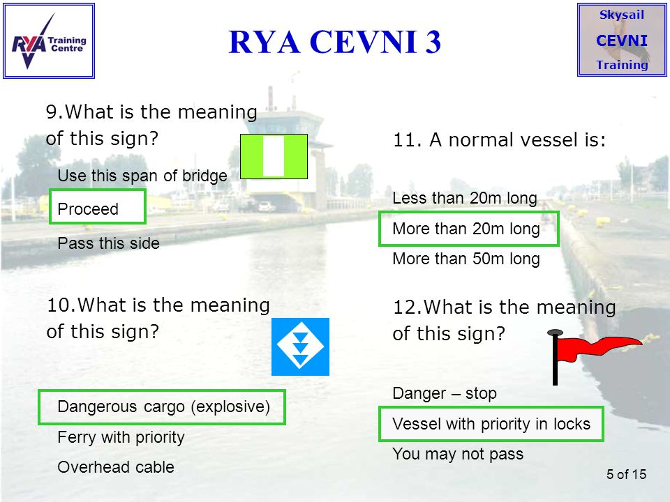 Skysail CEVNI Training 6 of 15 RYA CEVNI 4 13.What is the meaning of these lights on a vessel.