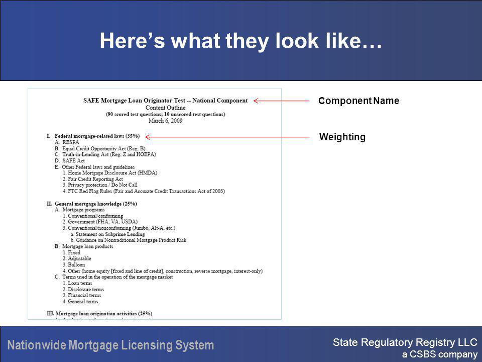 State Regulatory Registry LLC a CSBS company Nationwide Mortgage Licensing System Heres what they look like… Component Name Weighting