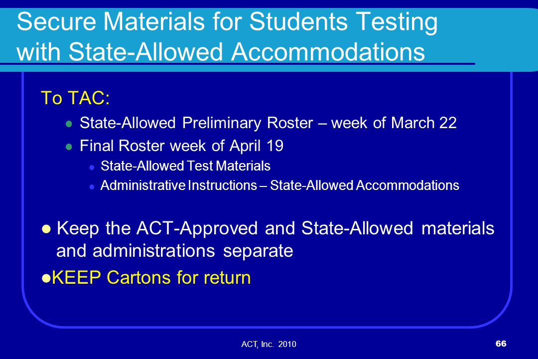ACT, Inc. 201066 Secure Materials for Students Testing with State-Allowed Accommodations To TAC: State-Allowed Preliminary Roster – week of March 22 F