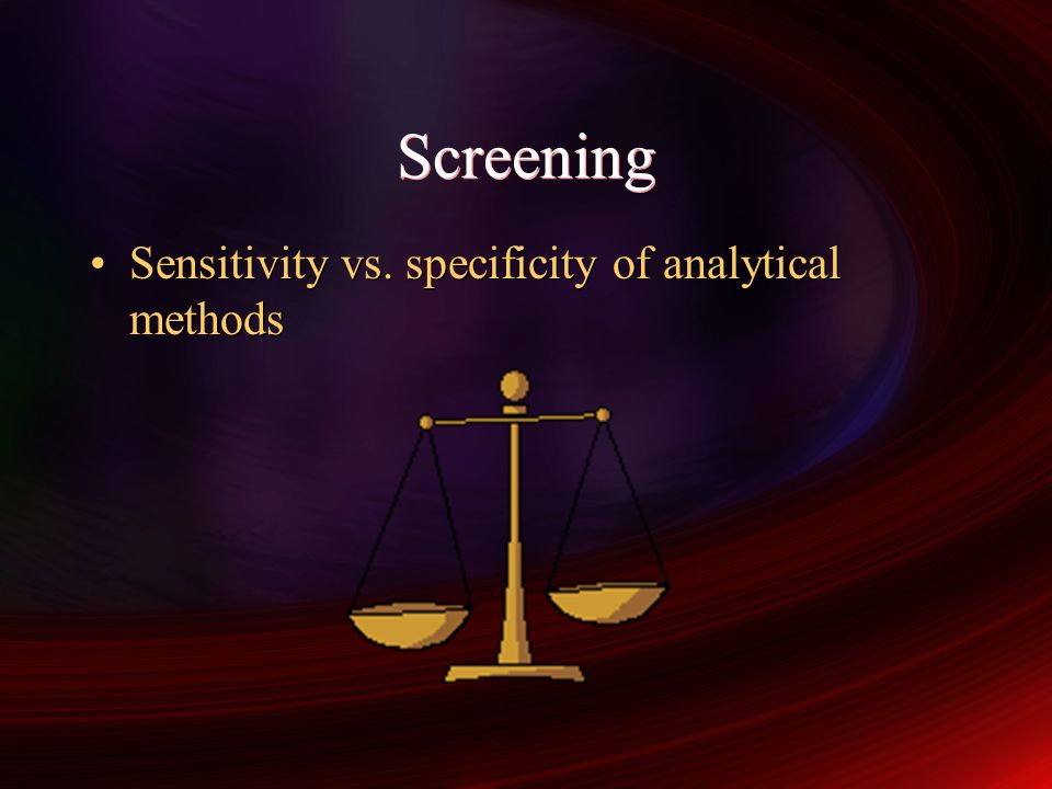 Performance characteristics of screening tests 1 - Sensitivity Specificity Receiver Operator Characteristic (1) (2) (5) (10) (12) (15) (20) (50) (80)(100)