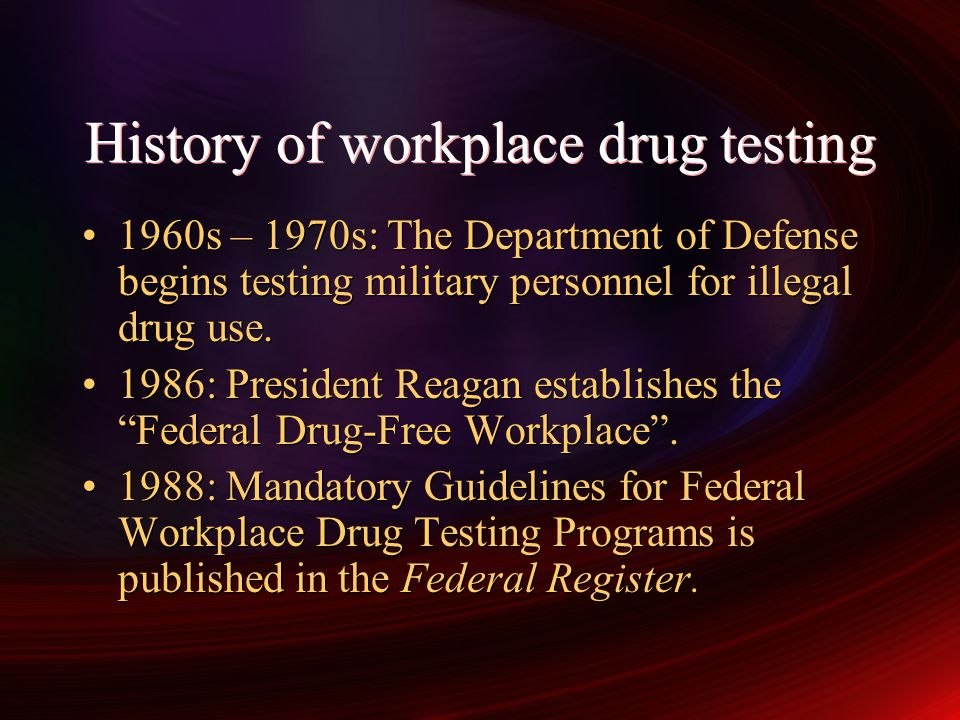 The NIDA program NIDA (now SAMHSA) requirements for drug testing were drafted by Research Triangle Institute The RTI established the National Laboratory Certification Program (NLCP) Drug testing for federal agencies (DOT, NRC, etc.) must be performed in a NLCP- certified laboratory NIDA (now SAMHSA) requirements for drug testing were drafted by Research Triangle Institute The RTI established the National Laboratory Certification Program (NLCP) Drug testing for federal agencies (DOT, NRC, etc.) must be performed in a NLCP- certified laboratory