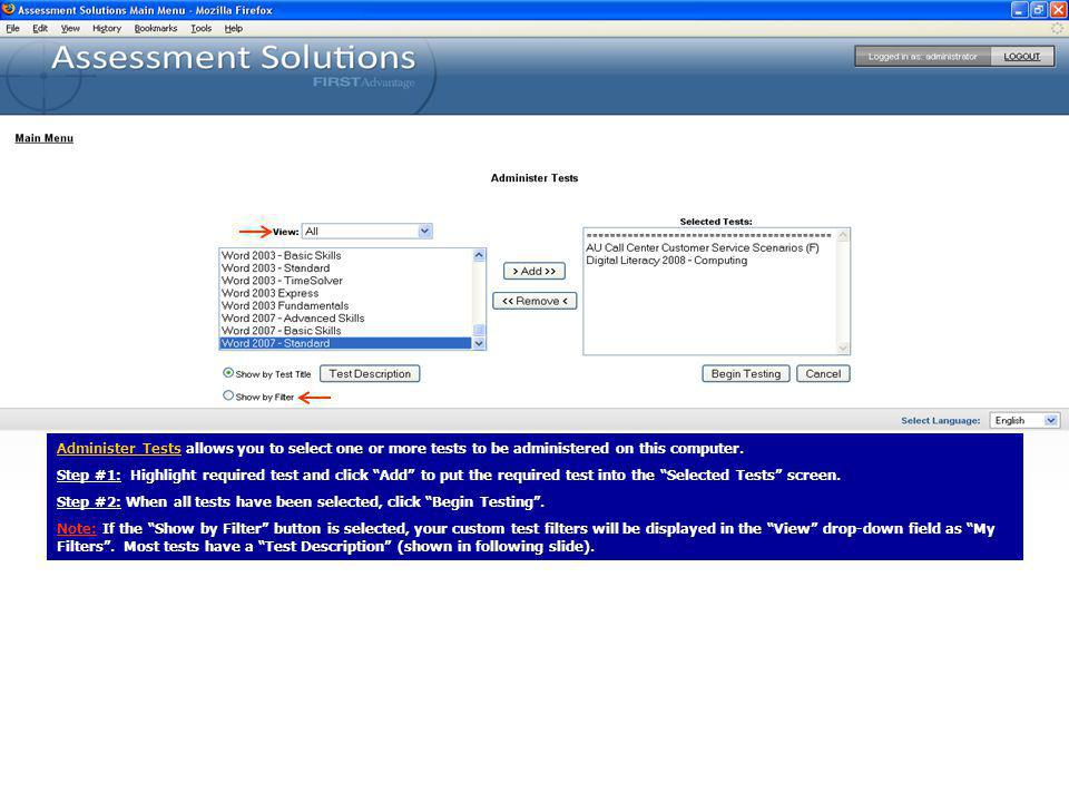 Account Information enables the account administrator to access reports about usage of the testing account.
