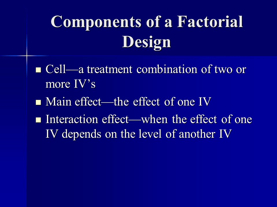 Components of a Factorial Design Cella treatment combination of two or more IVs Cella treatment combination of two or more IVs Main effectthe effect of one IV Main effectthe effect of one IV Interaction effectwhen the effect of one IV depends on the level of another IV Interaction effectwhen the effect of one IV depends on the level of another IV