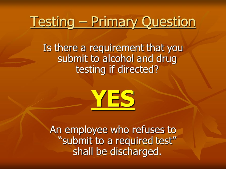 Testing – Primary Question Is there a requirement that you submit to alcohol and drug testing if directed.